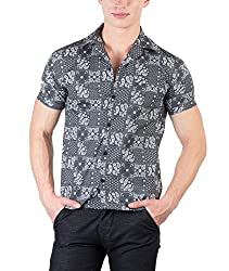 Hypernation Grey Color Paisley Printed Shirts For Men