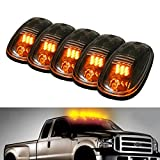 iJDMTOY® 5pcs Amber LED Cab Roof Top Marker Running Lights For Truck SUV 4x4 (Clear Lens Lamps)