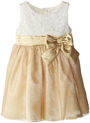 Youngland Little Girls' Bow Waist Colorblock Occasion Dress, Gold/Ivory, 4T