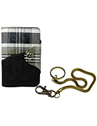 Apki Needs Long Black Mens Wallet & Beautiful Beautiful Golden Chain Keychain Combo