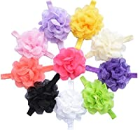 Qandsweet Baby Girl's Headbands Chiffon Hair Flower (10 Pack)