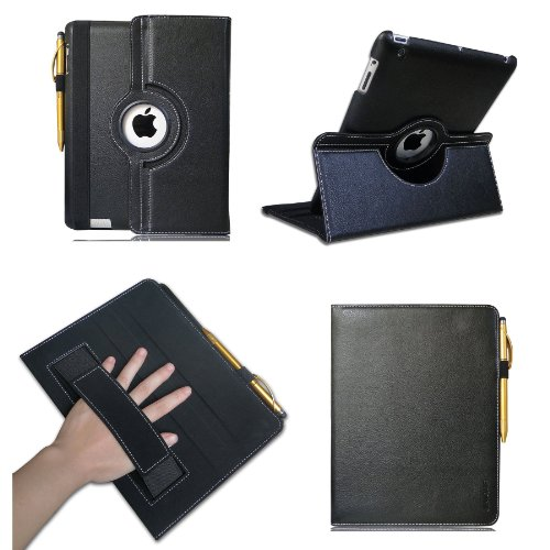 Jinique Ipad 3 & 4 Case 360 Degree Rotating Premium Pu Leather And Smooth Microfiber Interior With Elastic Hand Strap And Smart Wake/Sleep Feature (Black)