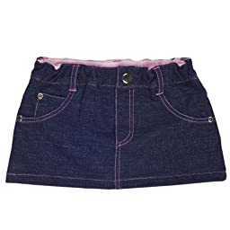 Elegant Baby Baby\'s First Jean Skirt for Newborn or Infant in Dark Denim with Pink Trim Size 3-6 Months (Discontinued by Manufacturer)