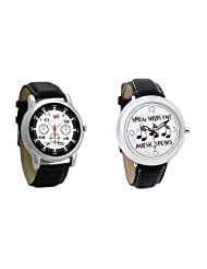 Gledati Men's Black Dial And Foster's Women's White Dial Analog Watch Combo_ADCOMB0001827