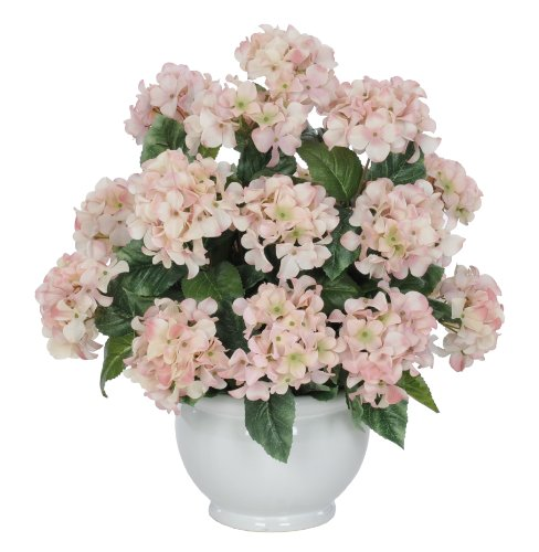 Artificial Pink Hydrangea in White Fishbowl Ceramic Vase