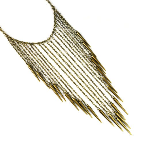 Yellow Tone,punk Metal Spike Tassel Personality Necklace,nl-1920