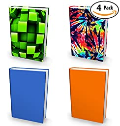 Book Sox Stretchable Book Cover: 4 Print Value Pack Neutral Colors. Fits Most Hardcover Textbooks up to 9\