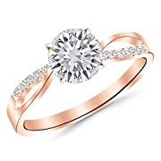 0.33 Carat Elegant Twisting Split Shank Diamond Engagement Ring 14K Rose Gold with a 0.25 Carat F-G VS1-VS2 Center
