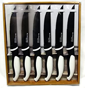 Brandani Inox Italian Style Steak Knives, Set of 6 Black and White