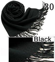 HiiBaby®Top Quality Hot Sale Ladies Pashmina Shawl Hijab Scarf Huge Range Wrap 40Colors (Black 30)
