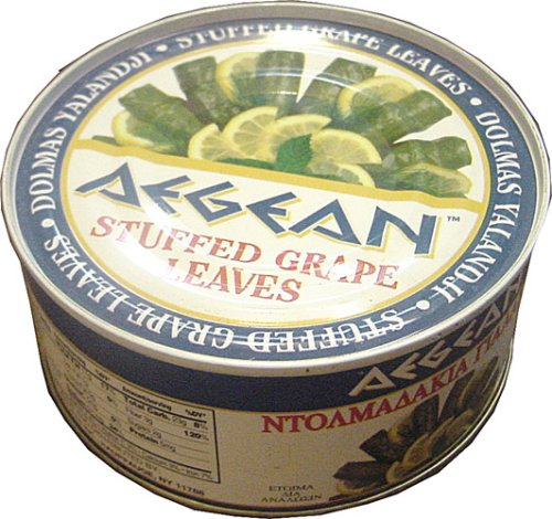 Aegean Stuffed Grape Leaves (Dolmadakia) 14 oz (397 gram) easy open can by Aegean