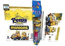 Minions Trio Candy Delight! Minion Peeps, Minion Sour Gummies, Bob PEZ, 3 Piece Bundle Set