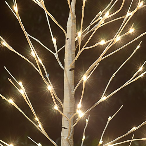 8FT-132-LED-Birch-LIGHT-Tree-W-Icicle-Twinkling-Warm-White