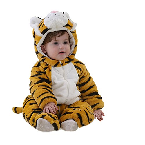GENERIC Newborn Baby One-pieces Flannel Yellow Tiger Hooded Bodies Romper