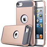 iPod Touch 5/6 Case,ULAK iPod Case Dual Layer Protective Hard Impact Case Cover for Apple iPod touch 5th/6th Generation(Rose Gold +Gray)