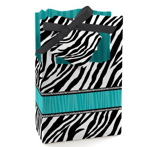 Zebra Teal - Party Favor Boxes - Set of 12 (Teal Zebra Party Supplies compare prices)