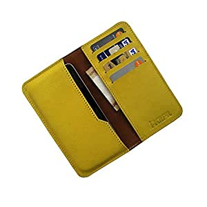 i-KitPit : Genuine Leather Wallet Flip Pouch Case For HTC One Max (YELLOW)