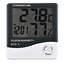 LADEY Multifunction Indoor Digital LCD Display Hygrometer Thermometer Temperature Humidity Meter with Alarm Clock