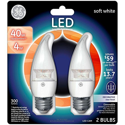 GE LED 40W Equivalent Soft White (2700K) Bent Tip Medium Base Clear Dimmable LED Light Bulb (Ge Led Lightbulbs compare prices)