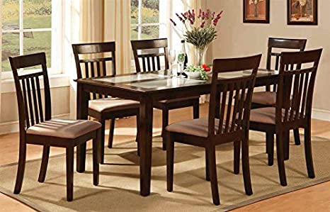 7-Pc Rectangular Dining Set in Cappuccino Finish