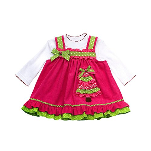Rare Editions Holiday Corduroy Jumper & Knit Bodysuit Set, Fuchsia And Lime, 6M