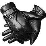 adelphos スマホ 対応 人気 レザー グローブ インナー フリース メンズ 大人 男性 用 かっこいい 革 手ぶくろ 冬 防寒 手袋 裏起毛 暖かい 黒 ブラック