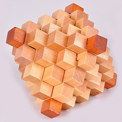 KINGOU Wooden Primary Color Big Pineapple Lock Logic Puzzle Burr Puzzles Brain Teaser Intellectual Toy - 1