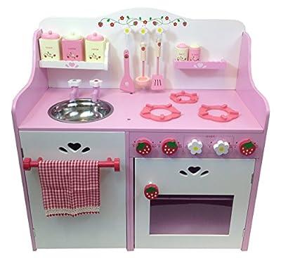 Children's Wooden Toy Kitchen - Strawberry/Pink Design