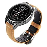 Gear Sport/ Gear S2 Classic Watch Bands, Maxjoy 20mm Genuine Leather Replacement Strap Wrist Band for Samsung Gear Sport SM-R600/ Gear S2 Classic SM-R732 & SM-R735 SmartWatch,Camel