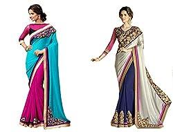 Pragya creations Women's Chiffon Saree (Prag20_Multi)-pack of 2