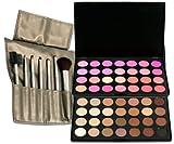 2 X 28 Color Mix Style Eyeshadow Palette+7pcs Makeup Brush w/Light Gold Bag