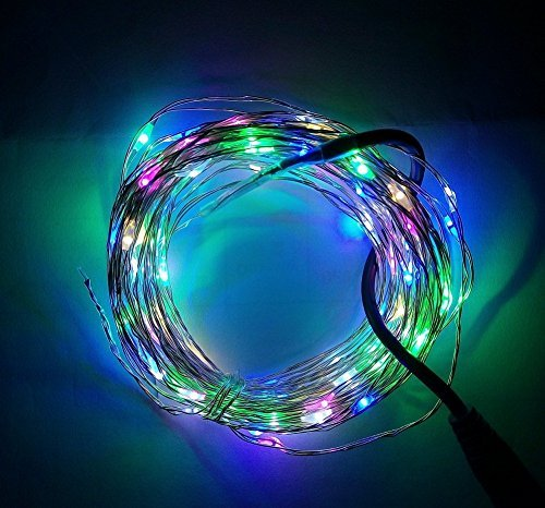 KCRIUS(TM) 16.4Ft RGB Copper Wire LED Starry Lights, 12V DC LED String Light, Includes Power Adapter, with 50 Individual Leds Color: RGB Size: 16.4ft Model: (Hardware & Tools Store)