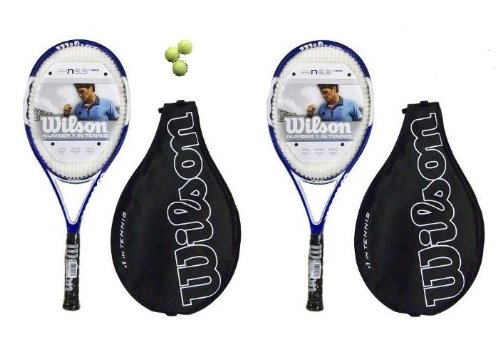 2 x Wilson N 5.3 Hybrid Adult Tennis Rackets Plus Head Tennis Balls RRP £350
