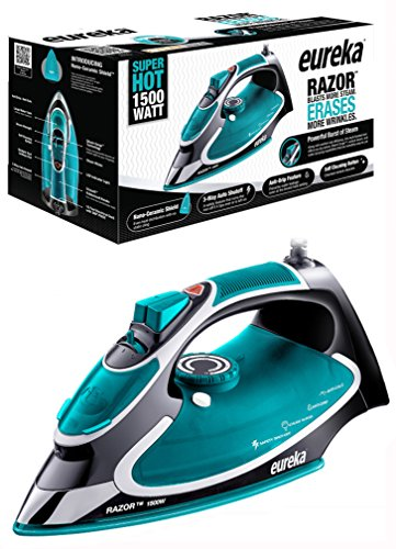 Eureka Razor Strong Steam Iron Burst, Non-Stick Ceramic Soleplate with Auto-Off Super Hot 1500 Watt Iron Aqua Spring Included