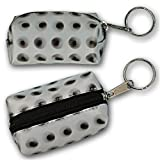 3D Lenticular Key Chain, Key Ring, Lipstick Case, Coin Purse, Changing Image Pattern , White, Black Moving Dots, R-070-Globi