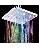 """Timetop 7 Colors Changing LED Shower Head Sprinkler /Douche d'arroseuse de tête8"""" Square carré pommeau/La lumière change de couleur avec la température de l'eau automatiquement"""