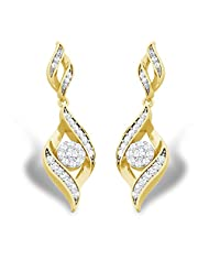 14K Yellow Gold Over .925 Silver Round Cut Crystalline Earrings For Women's