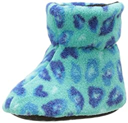 ACORN Toddler Easy Bootie Slipper,Turquoise Leopard,Small (0-6 Months M US Infant)