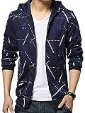 (ラルジュアルブル) largearbre デザイン パーカー メンズ 長袖 フード ジップ アップ かっこいい ユニセックス (XXXL, ブルー)