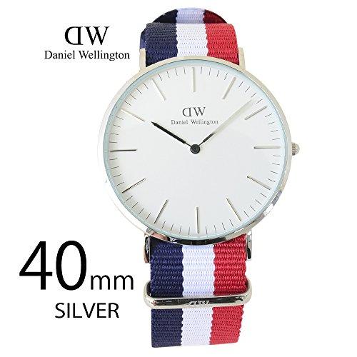 Daniel Wellington Reloj de pulsera para hombre, analógico, mecanismo de cuarzo, talla única, color blanco, color azul/blanco/rojo/plata
