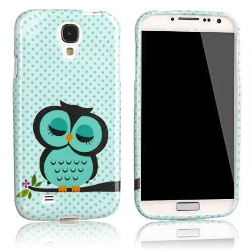 Vandot 2In1 For Samsung Galaxy S4 Mini I9190 Soft Tpu Silicone Back Case Cover Skin Shell Night Owl Polka Dot + 1X Stylus Touch Pen (Flexible Color)- Green White Cute Cartoon front-1022246