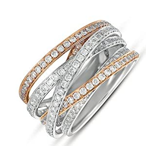 14k 1.29 Dwt Diamond White and Pink Gold Pave Ring - JewelryWeb