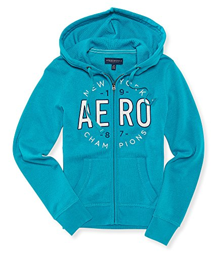 Aeropostale Women's Aero New York Champions Full-Zip Hoodie L Aqua Burst (Champion Aeropostale compare prices)