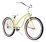 Firmstrong Bella Fashionista Single Speed Beach Cruiser Bicycle, Vanilla, 17 inch / Large