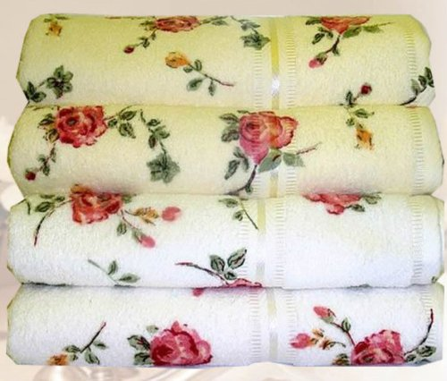 White Rose Bath Towel Printed Bath Towel Chaby Chick Pink Luxurious Designer