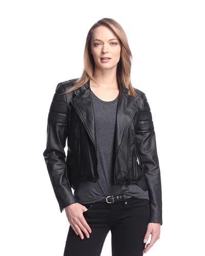 W118 by Walter Baker Women's Peeta Faux Leather Motorcycle Jacket  [Black]