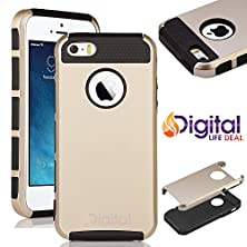 buy Black & Gold Color 2-Piece Dual Layer Style Hybrid Heavy Duty Case Hard Cover For Apple Iphone 5 5S