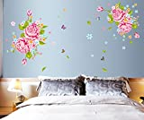 UberLyfe Pink Flower with Butterfly Wall Sticker (Wall Covering Area: 120cm x 160cm)