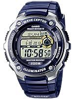 Casio - WV-200E-2AVEF - Montre Radio Piloté - Acier et Résine - Quartz Digitale - Multifonctions - Chronographe - Fuseaux Horaires - Alarme - Timer - Bracelet Caoutchouc Bleu