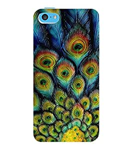 ColourCraft Peacock Feathers Design Back Case Cover for APPLE IPHONE 5C